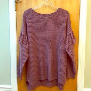 Charlotte Russe Fringe Crochet Sweater